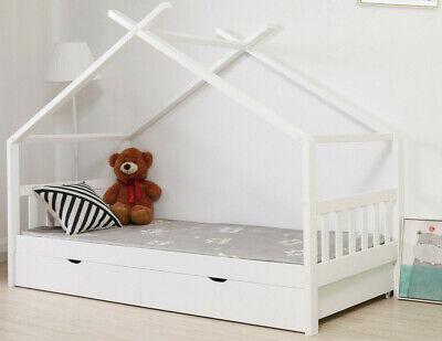 Kinderbett Hausbett 90x200cm Kinder Bett Holz Stauraumbett mit 2 Schubladen Neu
