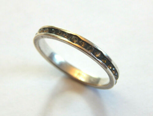 Vintage 925 Sterling Silver NV10 Navada Ring Size 10 With Clear Inlaid Stones