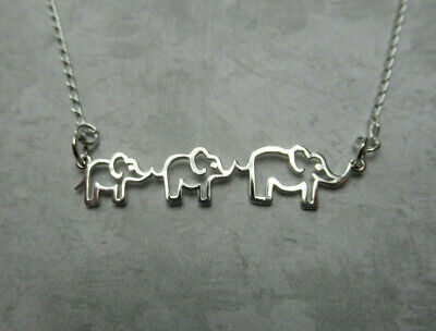 Mother & Two Baby Elephants Necklace 925 Sterling Silver Mom Mama & Two Children