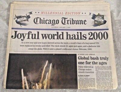 Chicago Tribune   Joyful World Hails 2000  1 1 2000 Newspaper  January 1  2000