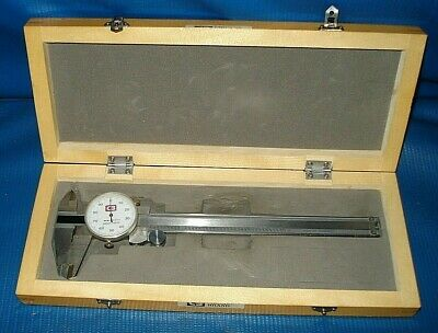 Chicago Brand 6 Stainless Dial Caliper .001 No. 50004a In Nice Wooden Case