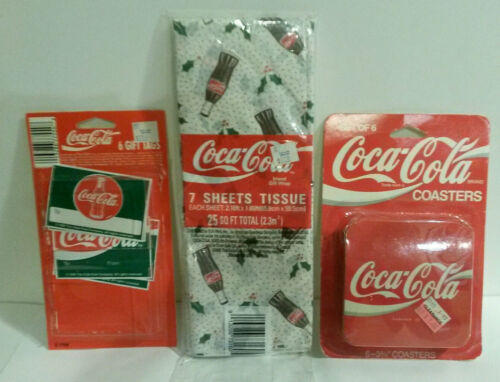 Coca Cola Coke coasters tissue paper gift tags 1995 NOS never used