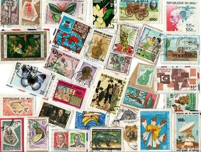 A LOVELY MIX OF ALL DIFFERENT KILOWARE STAMPS FROM AFRICA, THE FRENCH COMMUNITY