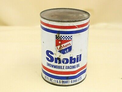 Vintage LeMans Snobil Snowmobile Motor Oil 1 Quart Metal Can Gas Station Sign