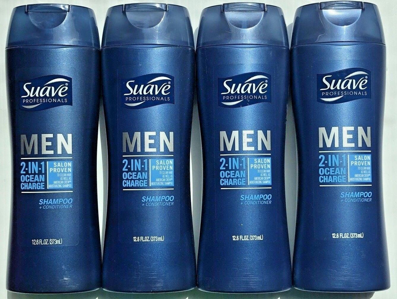 4 NEW SUAVE MEN DAILY CLEAN OCEAN CHARGE 2in1 SHAMPOO + CONDITIONERS