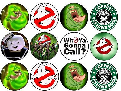 Ghostbusters Cupcake Toppers (Ghostbusters Theme Edible Wafer or Icing Cup Cake Disc Topper)