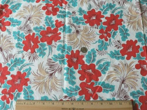 """Vintage Cotton Tropical Floral/Palm Feedsack Fabric Material~L-25""""XW-36"""""""