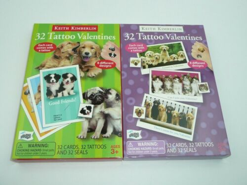Cats Dogs 64 Valentines Day Cards w/ TATTOOS Kittens Puppies Classroom Childrens