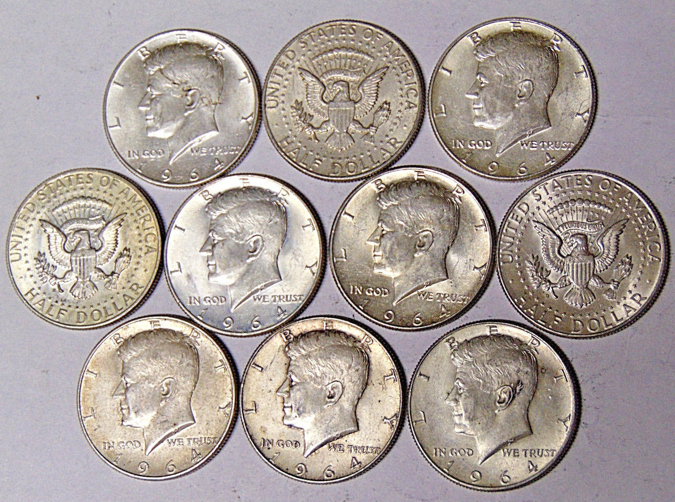 Lot of 10 1964 Kennedy Silver Half Dollars $5 Face Value 90% Silver Coins