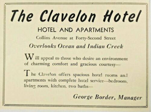 1940 Advertising Clavelon Hotel Apartments Indian Creek Florida FL Print Ad