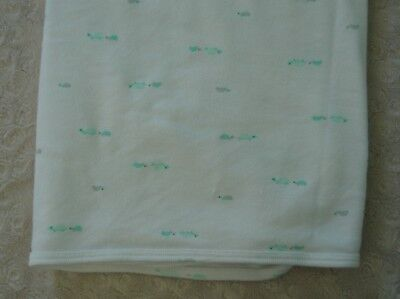 Carter's Turtle Baby Blanket Stretch Jersey Knit Swaddle White Green Gray Lovey