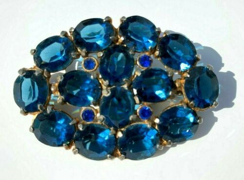Vintage beautiful vivid blue rhinestone pin brooch, costume jewelry, gift