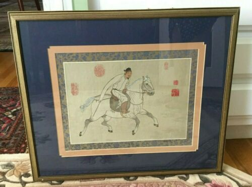 Chinese Painting on Silk Man on Galloping Horse
