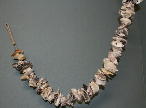 """Cajun Oyster Bar Decor Oyster Shells Garland Natural / Handmade, 38"""", G-87"""