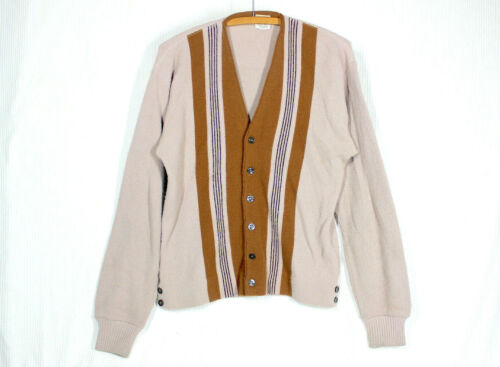 Vtg 50s Pennleigh Sweater M Soft Knit Acrylic Cardigan Striped Color Block