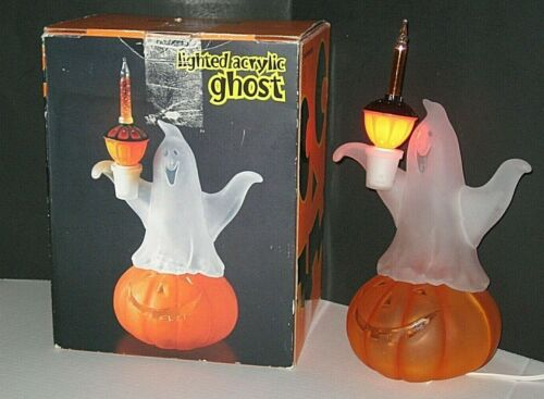 LIGHTED ACRYLIC HALLOWEEN GHOST WITH GLITTER BUBBLE LIGHT - IOB!