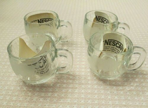 4 Vintage NESTLE NESCAFE Etched Clear Glass World Globe Map Coffee Mug Cup
