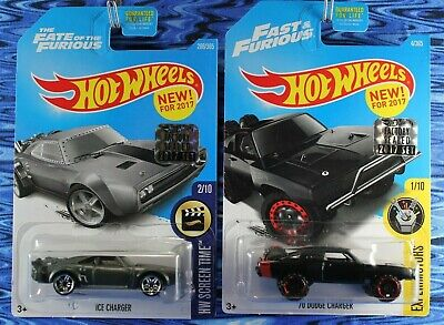 2017 Hot Wheels Ice Charger & 70 Dodge Charger Fast & Furious 2 Car Lot Box Ship