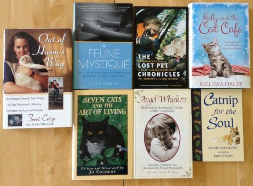 LOT OF 7 CAT BOOKS Animal Rescue Kittens Dogs Pet Loss Stray Feral Shelter Kitty