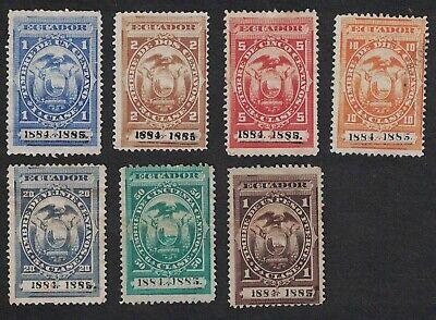 Lot of 7 - 1884 / 1885 ECUADOR Revenue Stamps - See Photos 1010
