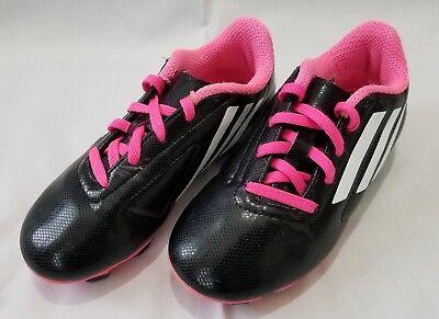 3da54abda Boys Sz 13K Black Pink White Adidas Conquisto FG J Soccer Cleats B25594  preowned