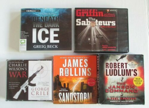 Lot of 5 Action CD Audiobooks James Rollins W.E.B.Griffin Ludlum