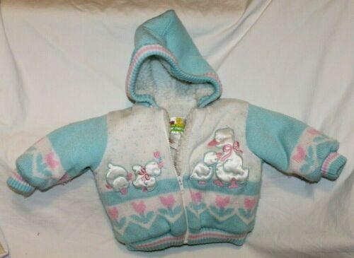 Vintage Sesame Street Sweater Jacket Ducks Pastel Size 12 Months Girl