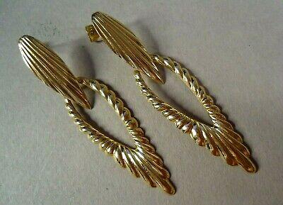 14K Yellow Gold Long Dangle Ribbed Hoop Earrings for Pierced Ears, 2.2g