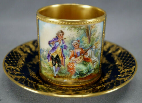 Dresden Royal Vienna Style Hand Painted Courting Couple Cobalt & Gold Cup H