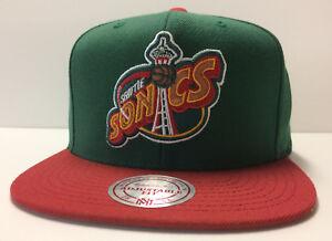 Seattle SuperSonics Mitchell   Ness NBA Snapback Hat XL Logo 2Tone Cap  Sonics 36fe93eb208