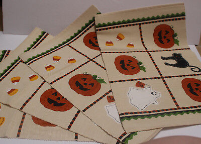 NEW Set of 4 Ivory HALLOWEEN Placemats w/ Black Cat, Pumpkin, Ghost, Candy Corn