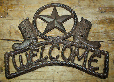 Cast Iron STAR WELCOME Cowboy Boots Plaque Sign Rustic Ranch Wall Decor TEXAS](Cowboy Wall Decor)