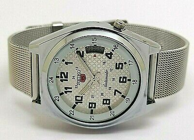 seiko 5 automatic men's steel silver dial vintage 7009 japan watch run r