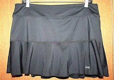 Saneryi Polyester Blend Black Elastic Waist Pleated Skirt w/Shorts Inside M