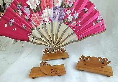 5 CHINESE HAND FAN WOODEN DISPLAY HOLDER STAND REST JAPANESE PARTY HOME...