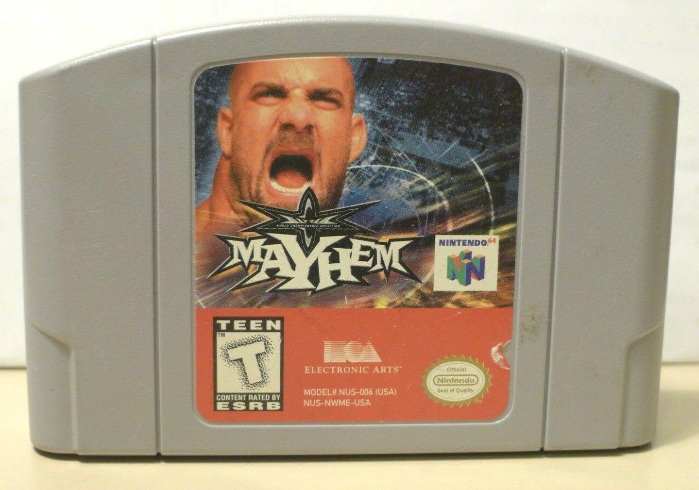 Tested Working WCW Mayhem Nintendo 64, 1999 N64 Authentic - $2.50