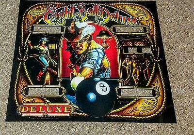 Bally EIGHT BALL DELUXE  pinball machine backglass translite replacement, used for sale  Wilkes-Barre