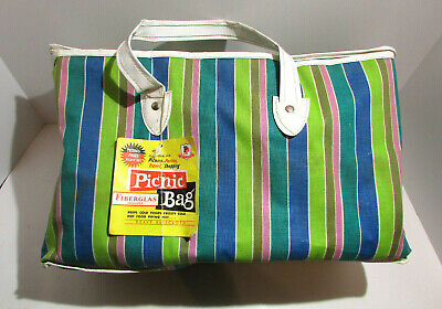 Vintage PP Thermo- Frost Fiberglass Vinyl Picnic Bag Striped Pattern W Tag