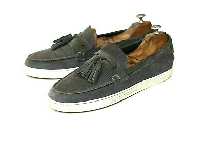 Fendi Italy Mens Gray Suede Casual Moccasin Deck Loafers Size 11 / 10 EU