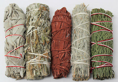 Sage Bundle Smudge Kit 5 Stick SAMPLER White, Black, Blue, Cedar, Dragons Blood