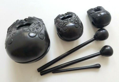 Set of 3 Ebony Wooden Temple Tone Blocks Chime Bells Zen Drum percussion black