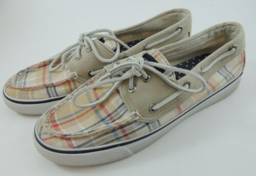 Sperry Beige with Beige Red and Blue Plaid Top-Sider Boat Shoes 8 M