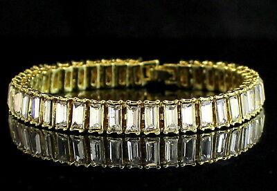 Baguette Tennis Bracelet - 1 Row Baguette Simulated Diamond Tennis Bracelet 14k Gold Plated 8.5 inch HipHop
