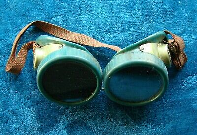 Vintage Collectible Steampunk Oxweld Welding Glasses Green Color - Made Usa