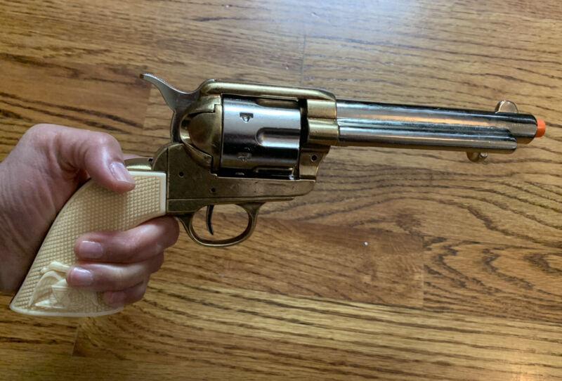 PROPS Denix 6-Shooter Single Action 2-Tone Gold/Silver Frontier Barrel Pistol