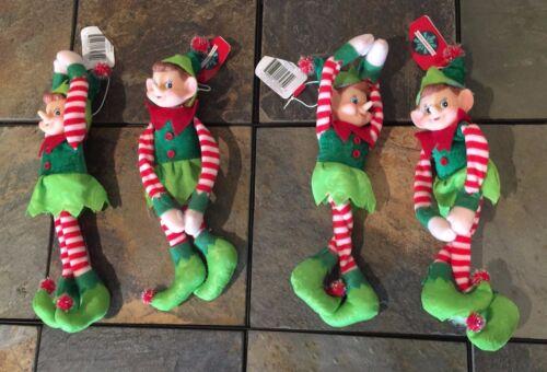 Lot of 4 Plush Elf Pixie Dolls sittable posable Plush Christmas Ornament BNew G