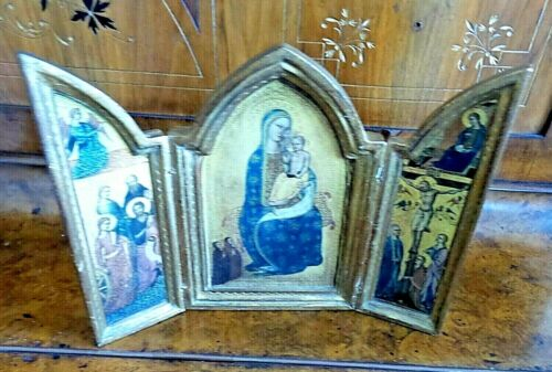 VINTAGE MEDIUM ICON TRIPTYCH WOOD  MARY WITH CHILD ANGELS ON SIDE CRUSIFIX