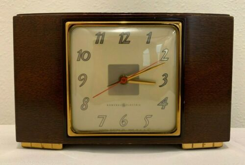Vintage GE General Electric Wood Mantle Clock Model 3H176 Mid Century Works