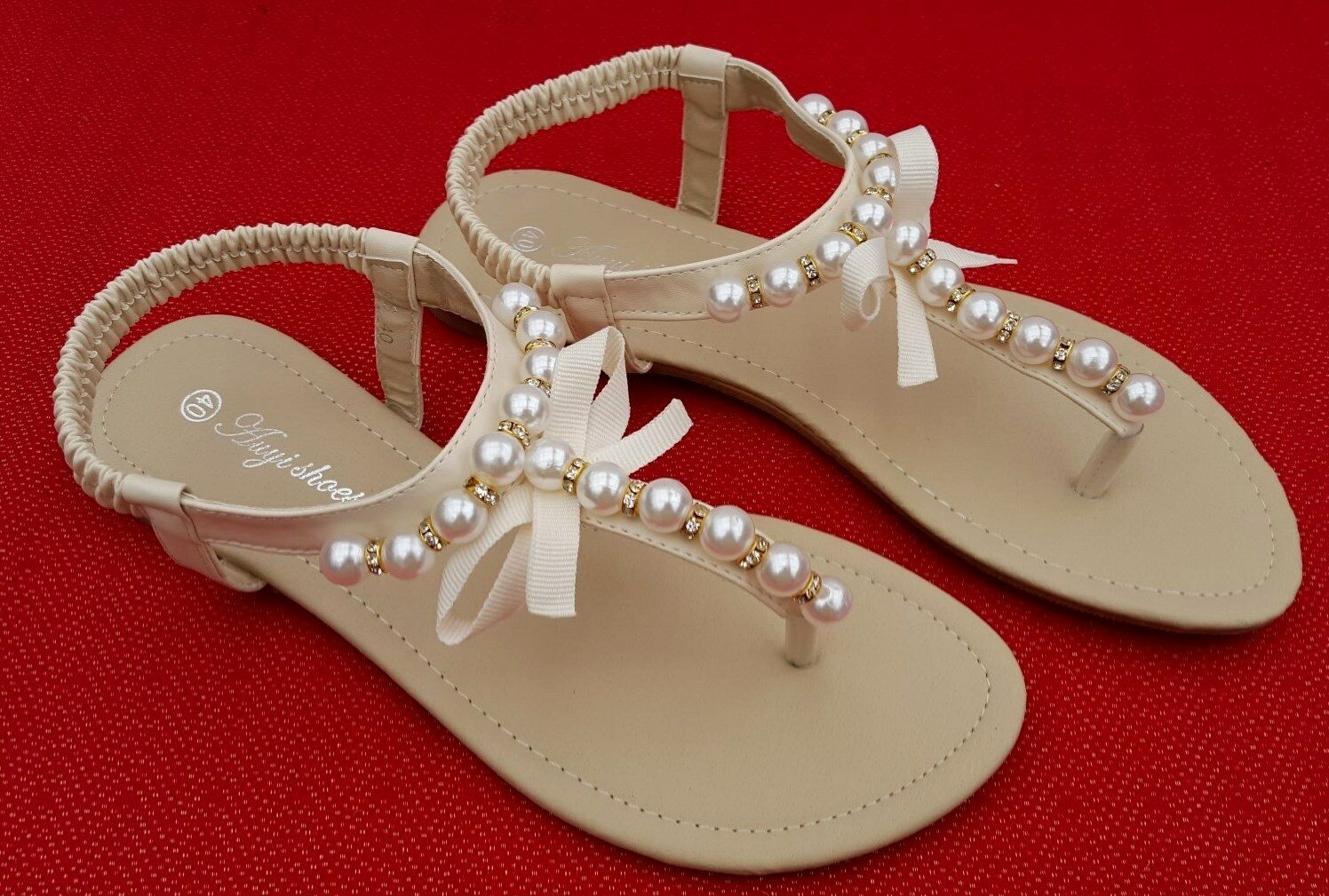 Ladies sz 11 pearl sandals thongs flats wedding bridal for Flat dress sandals for weddings