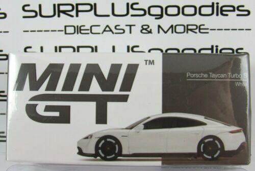 TSM Model Mini-GT 1:64 2021 Overseas Box Ed White PORSCHE TAYCAN Turbo S #218